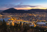 Beautiful Sky in the evening of summer - panoramic view from Floyen mountain  in Bergen,  Norway. - 237571242