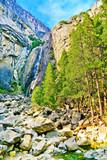 View of Lower Yosemite Falls in Yosemite National Park in autumn. - 237575440