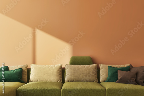 large luxury modern bright interiors Living room Spiced honey illustration 3D rendering computer digitally generated image