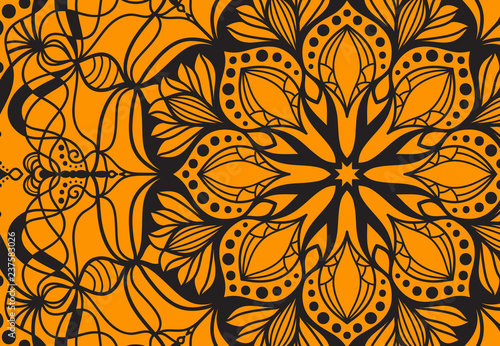 Abstract mandala graphic design and watercolor digital art painting for ancient   geometric concept background - 237583026