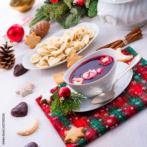 red barszcz with uszka a polish christmas soup - 237585236