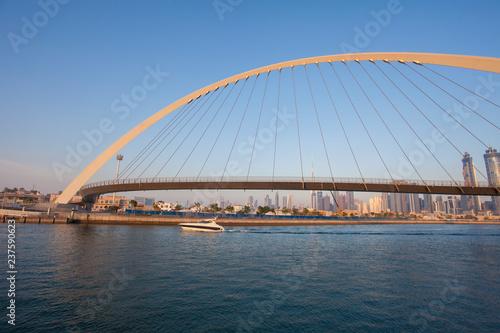 Dubai city skyline at sunset. view of Tolerance bridge - 237590623