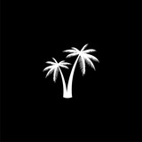 Silhouette palm tree, Palm tree icon or logo on dark background - 237591677