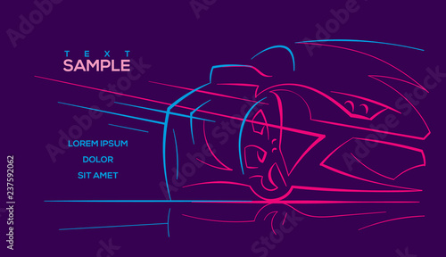 Modern car abstract neon line illustration. Vector. Text outlined.