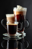Various coffee drinks on a black background.