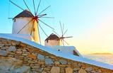 Windmills in Mykonos at sunset - 237600629