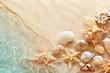 Leinwandbild Motiv Starfish and seashell on the summer beach in sea water. Summer background. Summer time.