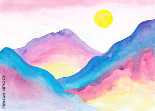Fantastic alien landscape Colorful watercolor mountains Gradient Ombre Blue pink yellow purple Morning background - 237603276
