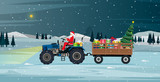 Santa driving a tractor carrying gifts and Christmas tree.