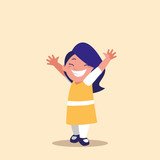 cute little girl with hands up