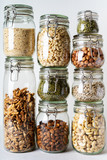 Glass jars with Superfoods stacked on top of each other - 237615045