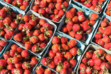 Monawk Valley, New York state - Fresh June strawberries for sale at a farmers market in Utica, New York State.