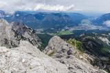 Hiking on the Alpspitz ferrata, Garmisch-Partenkirchen in the background.