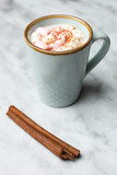 Cup of coffee with marshmallows and cinnamon