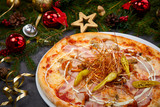 Christmas pizza on table