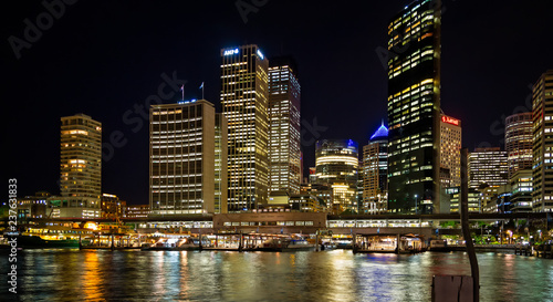 Circular quay and ferry terminal at night with city lights in Sydney, Australia on 2 October 2013 © Nigel