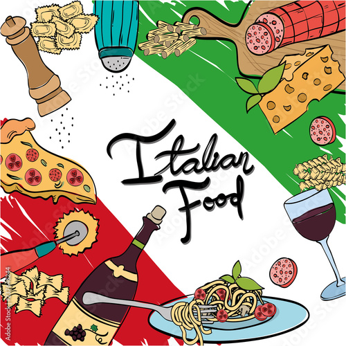 italian flag with delicious food menu - 237646244