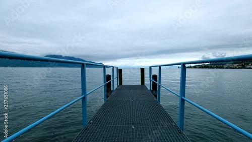 Fototapeta Gangway at Geneva lake landscape at the day time