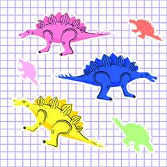 Colored dinosaurs isolated © Sergey Bosak