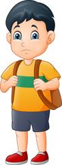 Little sad boy with backpack © idesign2000