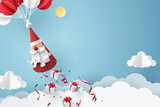 Paper art of Gift box dropping from Santa Claus, merry Christmas and happy new year celebration concept - 237669603