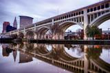 Detroit Superior Bridge over Cuyahoga River in Cleveland, Ohio, USA.