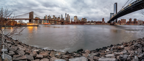 Panoramic view of Manhattan and Brooklyn Bridge in New York. USA - 237673076