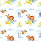 Seamless pattern with cute cartoon fairy flies flying against the background of the starry sky and month