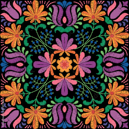 Vector seamless decorative floral embroidery pattern, ornament for textile, kerchief, pillow or handbag decor. Bohemian handmade style background design. - 237677826