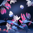 Spring and summer natural background. Beautiful blue butterflies on a background of pink flowers and buds in the spring garden. Plastic pink and ultraviolet colors. Square image.