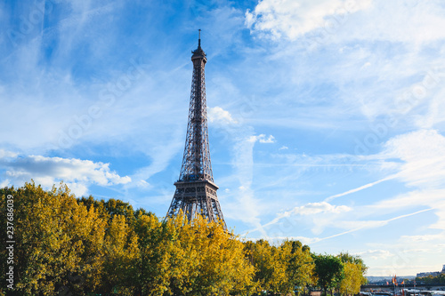 Eiffel tower on blue sky background. Paris. France - 237686039