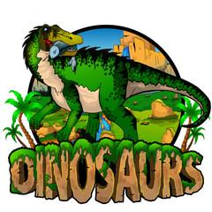 Logo  Dinosaurs World with Baryonyx. Vector illustration. © Максим Ковальчук