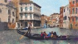 Gondola in a canal in Venice, Italy. Oil painting stylization landscape of Venice, Italy.