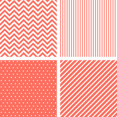Vecor seamless patterns in living coral color of the year 2019 © Artulina
