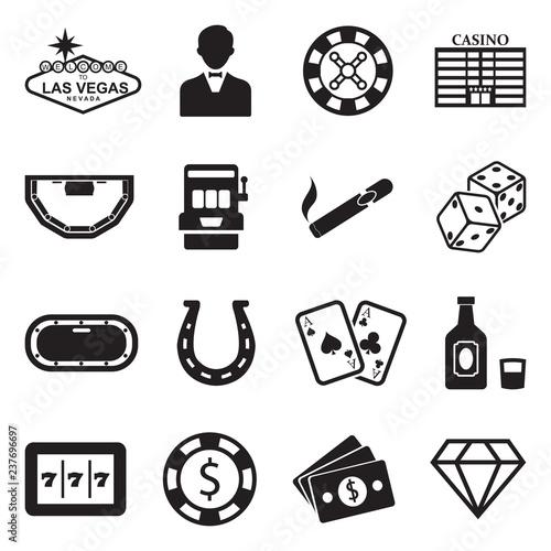 Las Vegas And Casino Icons Black Flat Design Vector Illustration