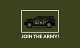 Join The Army Quote Poster with SUV Car Vector Illustration