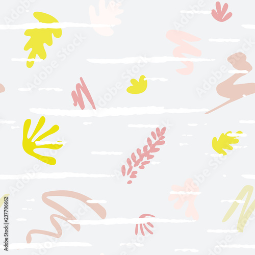 Organic shapes vector seamless pattern. Abstract paper cut outs collage. - 237706662