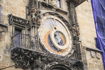 Prague chimes or old-fashioned astronomical clock in Prague.