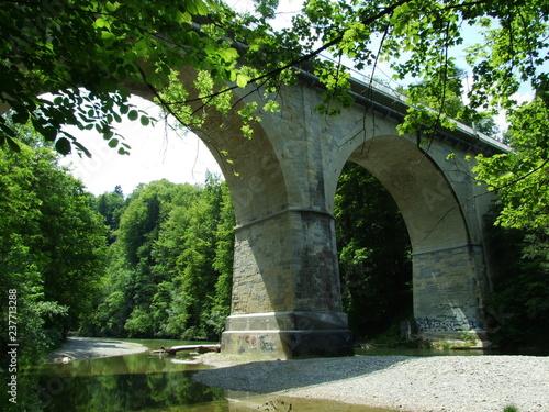 Fototapeta Old walled bridges over the river Sitter in St. Gallen