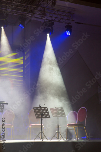 Music stands for music on the concert stage. Stage lights. Soffits. Concert light - 237714870
