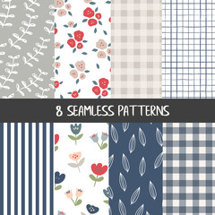 Set of natural farmhouse style seamless patterns for kitchenware and homeware, fabric and stationery design and decoration © saltoli