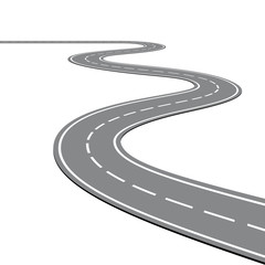 Creative vector illustration of winding curved road