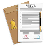 Rental agreement concept. Rental agreement, keys and pen. Vector illustration - 237717873