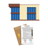 Rental agreement concept. Rental agreement, keys, pen and house - 237717887