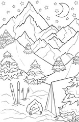 New year and Christmas theme. Black and white graphic doodle hand drawn sketch for adult coloring book. Winter landscape with mountains, pines, trees, snow, ski and tent. © juliasnegi