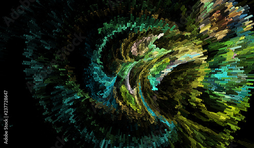 Fractal image: fancy abstract drawing, black background. - 237728647