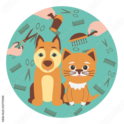 Cute dog and cat at groomer salon. Pet grooming concept. Vector illustration for pet hair salon, styling and grooming shop, pet store for dogs and cats