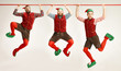 The happy smiling friendly men dressed like a funny gnome or elf hanging on an isolated gray studio background. The winter, holiday, christmas concept - 237744259