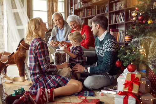 Christmas family portrait - family together in Christmas. - 237754074