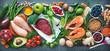 Leinwanddruck Bild - Balanced diet food background